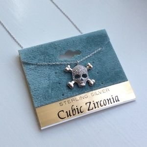 Jewelry - New Sterling Silver Skull Cubic Zirconia Necklace